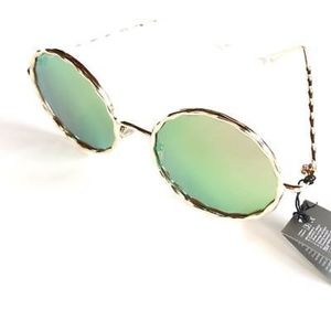 Accessories - PINK-GREEN Indie Round Mirrored Metal Sunglasses
